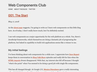 Screenshot of https://webcomponents.club/
